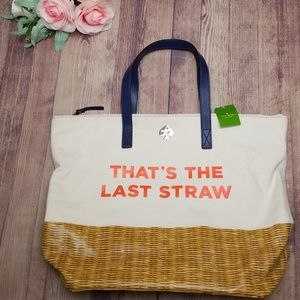 Kate Spade NWT TOTE BAG Call to Action LAST STRAW